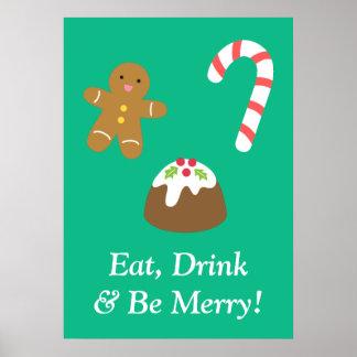 Coma la bebida y sea feliz con las chucherías del impresiones