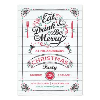 """Coma la bebida y sea feliz fiesta de Navidad, Invitación 5"""" X 7"""""""