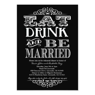Coma la bebida y sea feliz invitación de la cena