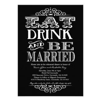 Coma la bebida y sea feliz invitación de la cena d