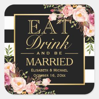 COMA la bebida y sea flores elegantes casadas del Pegatina Cuadrada