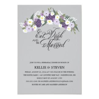 Coma la bebida y sea guirnalda floral rústica invitación 12,7 x 17,8 cm