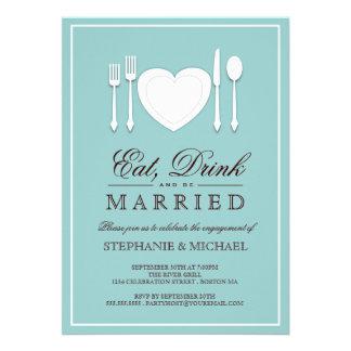 Coma la bebida y sea invitación casada del fiesta