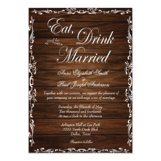 """Coma la bebida y sea invitaciones casadas de invitación 5"""" x 7"""""""