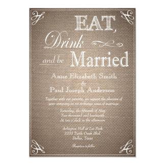 Coma la bebida y sea invitaciones casadas de la invitación 12,7 x 17,8 cm
