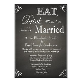 """Coma la bebida y sea invitaciones casadas de la invitación 5"""" x 7"""""""
