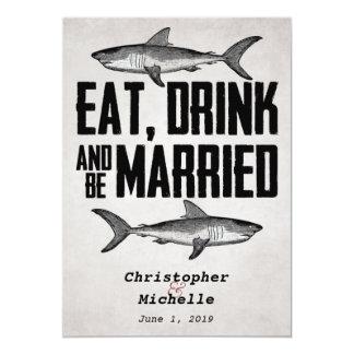 """Coma la bebida y sea invitaciones casadas del boda invitación 5"""" x 7"""""""