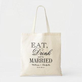Coma la bebida y sea las bolsas de asas casadas