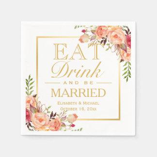 COMA la bebida y sea oro floral anaranjado rústico Servilletas De Papel