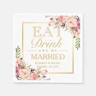 COMA la bebida y sea oro floral elegante elegante Servilletas Desechables