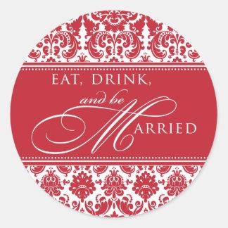 Coma la bebida y sea pegatina casado del damasco