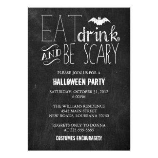 Coma la bebida y sea pizarra asustadiza del invitaciones personalizada