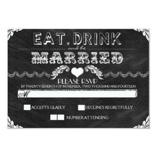 coma la bebida y sea pizarra casada que casa RSVP Invitación 8,9 X 12,7 Cm