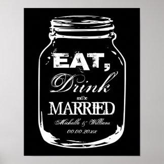 Coma la bebida y sea posters casados del boda del