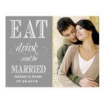 Coma la bebida y sea reserva gris casada del boda  postales