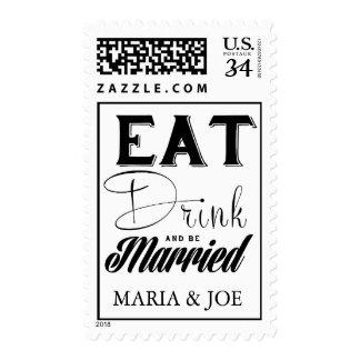 Coma la bebida y sea sellos casados del boda