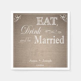 Coma la bebida y sea servilletas casadas de la servilletas desechables