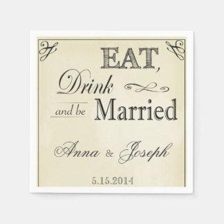Coma la bebida y sea servilletas casadas del servilletas desechables