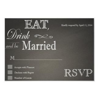 Coma la bebida y sea tarjetas casadas de RSVP de Invitación 8,9 X 12,7 Cm