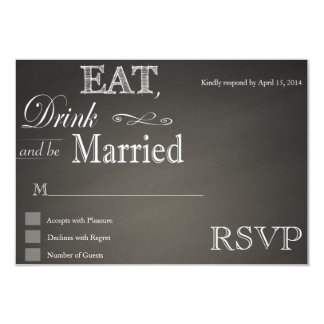 """Coma la bebida y sea tarjetas casadas de RSVP de Invitación 3.5"""" X 5"""""""