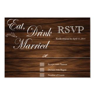 """Coma la bebida y sea tarjetas de madera casadas invitación 3.5"""" x 5"""""""