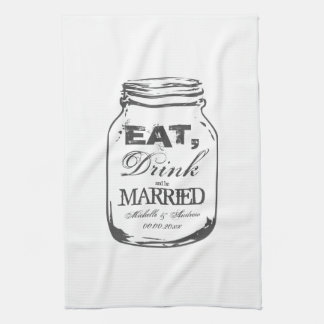 Coma la bebida y sea toalla de cocina casada del