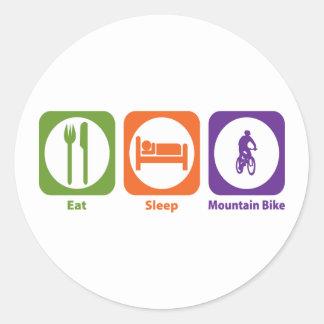 Coma la bici de montaña del sueño pegatina redonda
