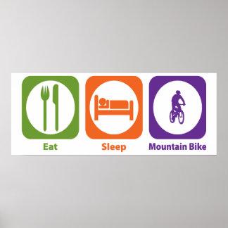 Coma la bici de montaña del sueño póster