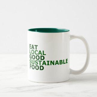 Coma la buena comida taza de café