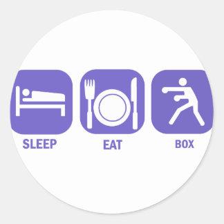 Coma la caja del sueño pegatina redonda