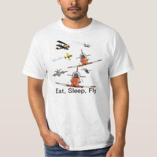 Coma la camisa divertida de la aviación de la