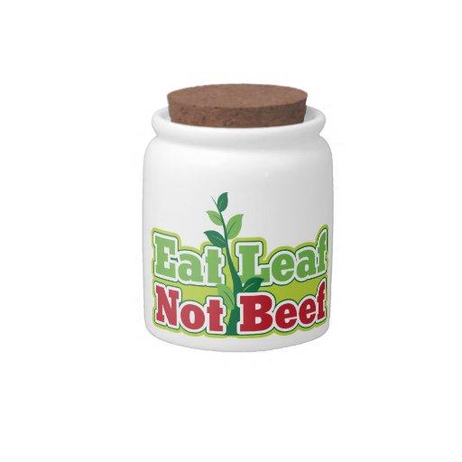 Coma la carne de vaca de la hoja no jarras para caramelos