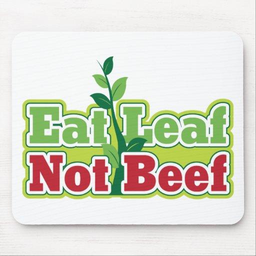 Coma la carne de vaca de la hoja no mouse pads