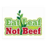 Coma la carne de vaca de la hoja no postales