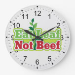 Coma la carne de vaca de la hoja no relojes de pared