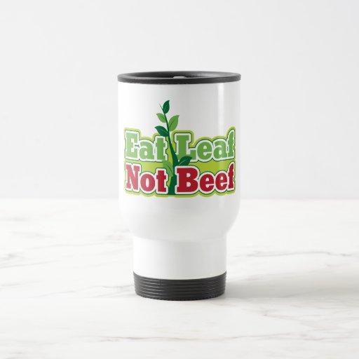 Coma la carne de vaca de la hoja no taza