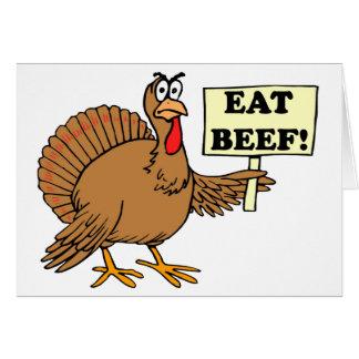 Coma la carne de vaca felicitacion