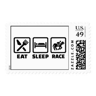 Coma la carrera de caballos del sueño timbre postal