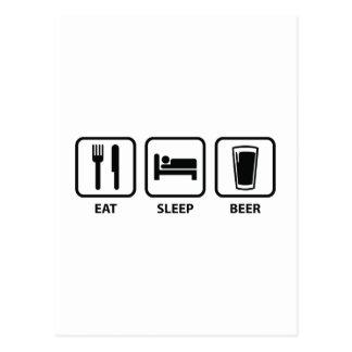Coma la cerveza del sueño postal