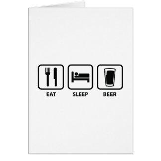 Coma la cerveza del sueño tarjeta de felicitación