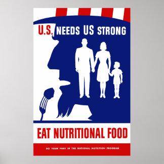 Coma la comida alimenticia -- Tío Sam Póster