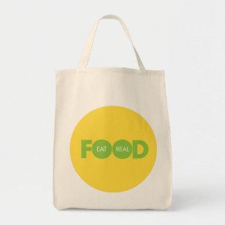 Coma la comida real bolsa tela para la compra