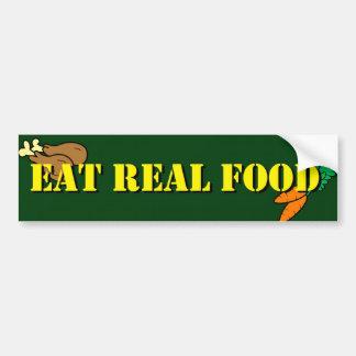 Coma la comida real etiqueta de parachoque
