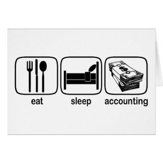 Coma la contabilidad del sueño tarjeta de felicitación