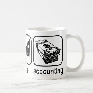 Coma la contabilidad del sueño taza de café