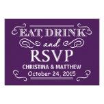Coma la contestación púrpura del boda de la bebida