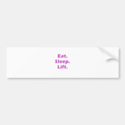 Coma la elevación del sueño etiqueta de parachoque