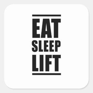 Coma la elevación del sueño pegatina cuadrada