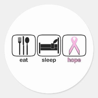 Coma la esperanza del sueño - cáncer de pecho pegatina redonda