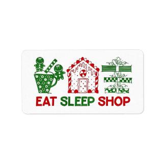 Coma la etiqueta de la tienda del navidad del sueñ etiqueta de dirección